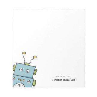 かわいく青い手描きのロボット ノートパッド