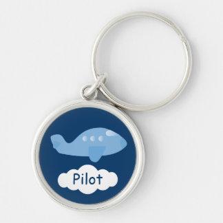 かわいく青い漫画の飛行機のカスタマイズ可能なパイロット キーホルダー