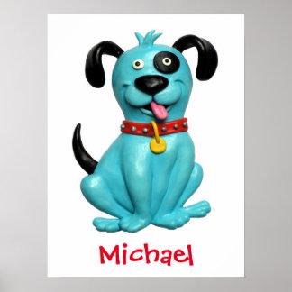 かわいく青い犬の男の赤ちゃんのシャワーの養樹園は部屋をからかいます ポスター