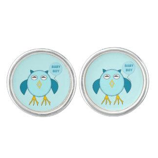 かわいく青い男の赤ちゃんのフクロウのカフスボタン カフリンク
