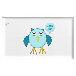 かわいく青い男の赤ちゃんのフクロウのテーブルカードホルダー テーブルカードホルダー