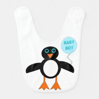 かわいく青い男の赤ちゃんのペンギンのよだれかけ ベビービブ