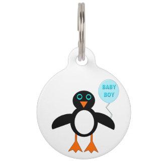 かわいく青い男の赤ちゃんのペンギンのドッグタッグ ペット ネームタグ