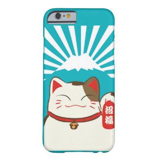 かわいく青い背景Iphoneのための幸運な猫パターン Barely There iPhone 6 ケース