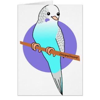 かわいく青いBudgie カード
