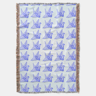 かわいく青いorigamiの紙クレーン スローブランケット