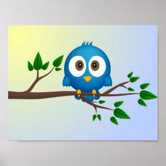 かわいく青いtwitterの鳥の漫画 ポスター
