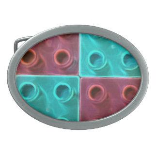 かわいく青および紫色のブロック 卵形バックル
