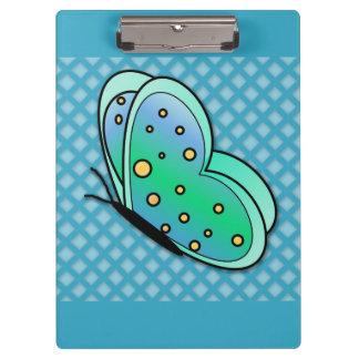 かわいく青、緑、および黄色の蝶クリップボード クリップボード