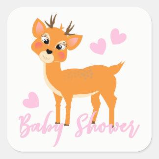 かわいく風変わりなシカの冬の女の赤ちゃんのシャワー スクエアシール