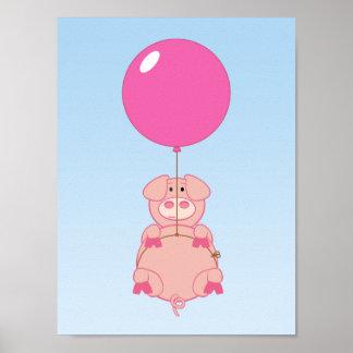 かわいく飛んでいるなブタおよび気球 ポスター
