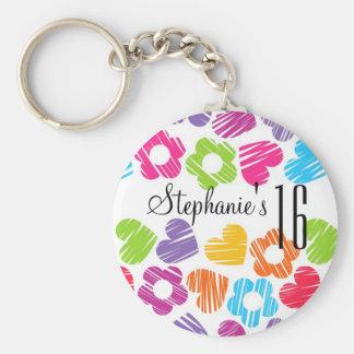 かわいく鮮やかな花のハートのSweet sixteen Keychain キーホルダー