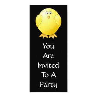 かわいく黄色いひよこ。 黒の小さい鳥 カード