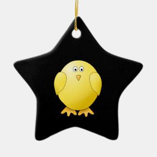 かわいく黄色いひよこ。 黒の小さい鳥 セラミックオーナメント