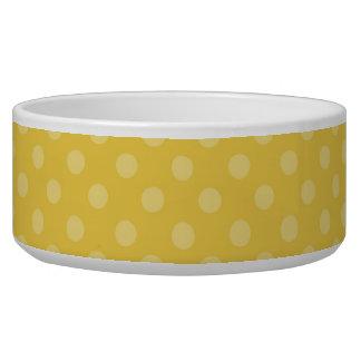 かわいく黄色い水玉模様犬のペットボウル