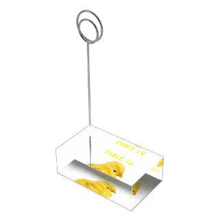 かわいく黄色い赤ん坊のひよこ テーブルカードホルダー