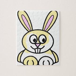 かわいく黄色および白いバニーウサギ ジグソーパズル