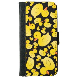 かわいく黒いゴム製アヒル iPhone 6/6S ウォレットケース