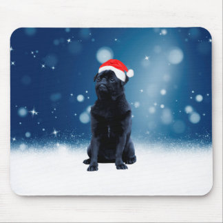 かわいく黒いパグ犬のクリスマスのサンタの帽子の雪の星 マウスパッド