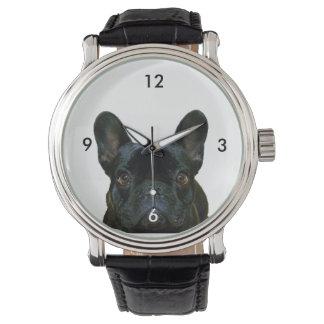 かわいく黒いフレンチ・ブルドッグの写真 腕時計