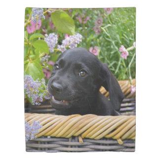 かわいく黒いラブラドル・レトリーバー犬犬の子犬ペット写真 掛け布団カバー