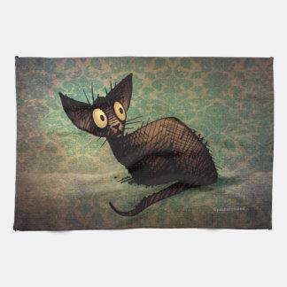 かわいく黒い東洋猫 キッチンタオル