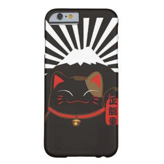 かわいく黒い背景Iphoneのための幸運な猫パターン Barely There iPhone 6 ケース