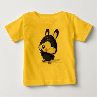 かわいく黒い鳥のおもしろいなマンガのキャラクタのTシャツ ベビーTシャツ
