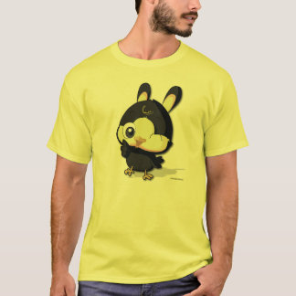 かわいく黒い鳥のおもしろいなマンガのキャラクタのTシャツ Tシャツ