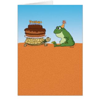かわいく、おもしろいなカメおよびカエルの誕生日 カード