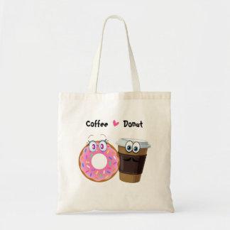 かわいく、おもしろいなコーヒーはドーナツを愛します トートバッグ
