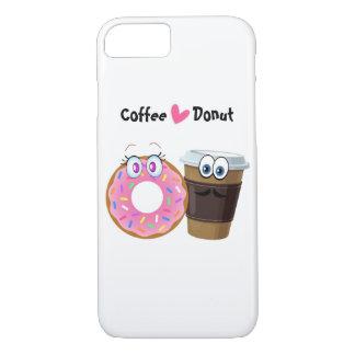 かわいく、おもしろいなコーヒーはドーナツ可動装置の箱を愛します iPhone 8/7ケース