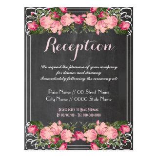 かわいく、エレガントな結婚披露宴の招待 ポストカード