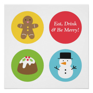 かわいく、カラフルなメリークリスマスのセンターピース ポスター