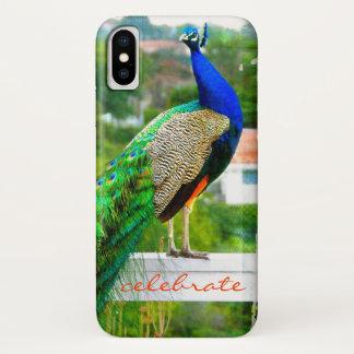 """かわいく、スタイリッシュな青緑の孔雀の写真を""""祝って下さい"""" iPhone X ケース"""