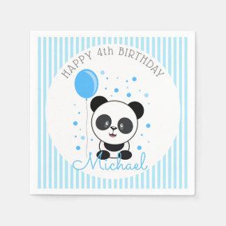 かわいこちゃんの青いパンダの誕生日 スタンダードカクテルナプキン