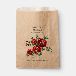 かわいらしいえんじ色の花の結婚式 フェイバーバッグ