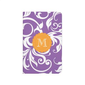 かわいらしいすみれ色の紫色のオレンジ花の渦巻のモノグラム ポケットジャーナル