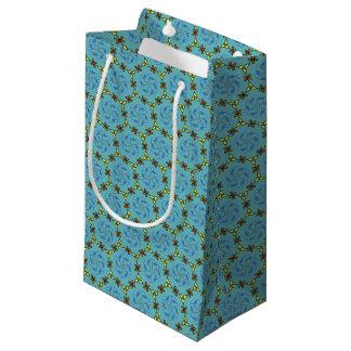 かわいらしいひな菊の花輪および花柄パターン スモールペーパーバッグ