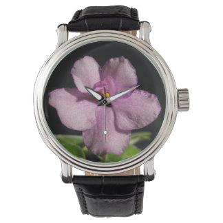 かわいらしいアフリカバイオレットの花 腕時計