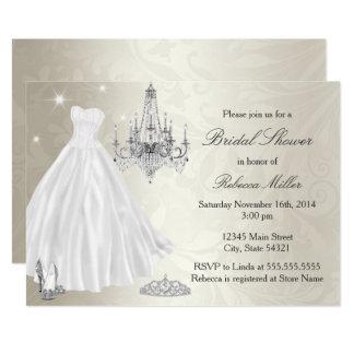 かわいらしいウェディングドレスのブライダルシャワーのクリームの白 カード