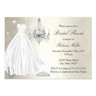 かわいらしいウェディングドレスのブライダルシャワーのクリームの白 12.7 X 17.8 インビテーションカード