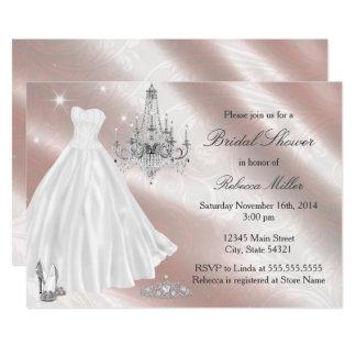 かわいらしいウェディングドレスのブライダルシャワーの招待 カード
