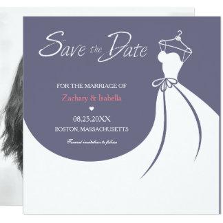 かわいらしいウェディングドレスの保存日付の招待状 カード