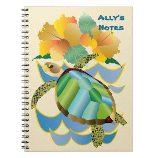 かわいらしいウミガメの熱帯黄色いハイビスカスの花 ノートブック