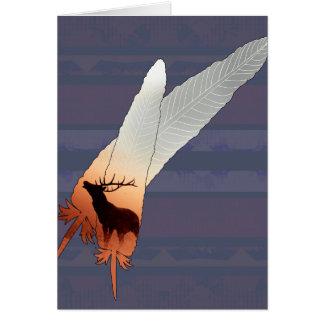 かわいらしいオオシカのネイティブアメリカンの羽の濃紺 グリーティングカード