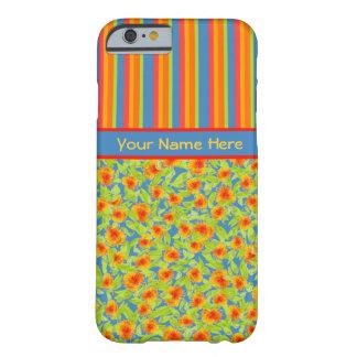 かわいらしいオレンジマリーゴールド、ストライプのiPhone 6の場合 Barely There iPhone 6 ケース