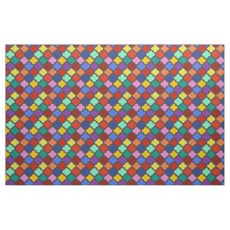 かわいらしいカラフルなクローバーの格子格子垣 ファブリック