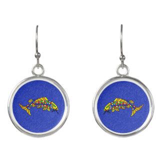 かわいらしいカラフルの空想の抽象芸術の魚の鮮やかな青 イヤリング