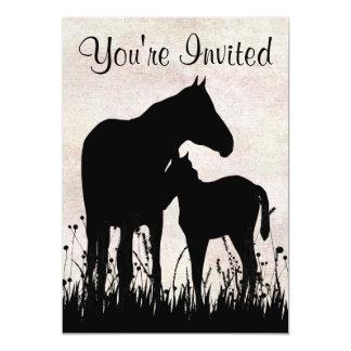 かわいらしいシルエットのロバおよび子馬の馬のベビーシャワー カード